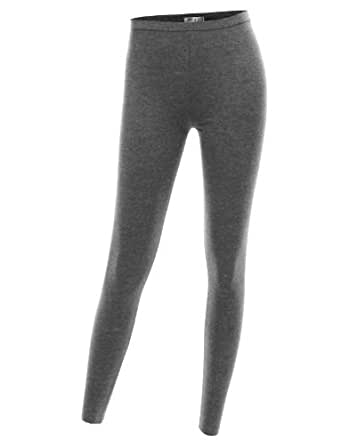 Doublju Women Day-to-Night Versatile Plus Size Suitable Length Leggings CHARCOAL,XL