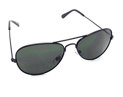 Child Police Glasses Aviator (MyUV Kids aviator Stainless Steel Frame Pilot children sunglasses (Black,)