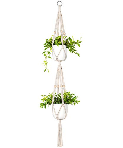 Mkono Macrame Double Plant Hanger Indoor Outdoor