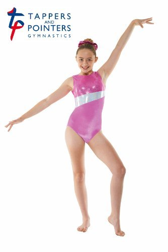 Girls Gymnastics Leotard - Sleeveless, velour with foil print GYM17 (Pink, 4-5 years) by Tappers & Pointers - Foil Gymnastic Leotard