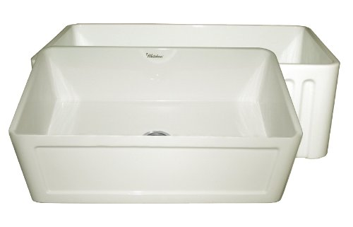 Whitehaus Collection WHFLCON3018-BISCUIT Reversible Series Fireclay Sink With Concave Front Apron One Side And Fluted Front Apron On Other Side, 30