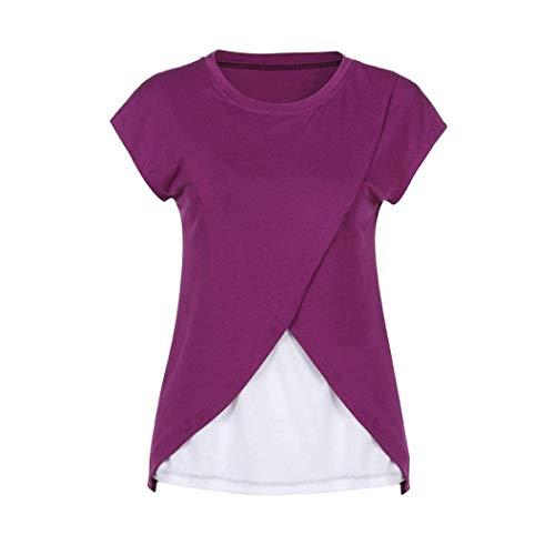 b19fe8147e08ba on sale Umstandskleidung Damen Still Wrap Top Stillshirt Bluse Cap Casual  Frauen Sleeves Doppelschicht T Shirt