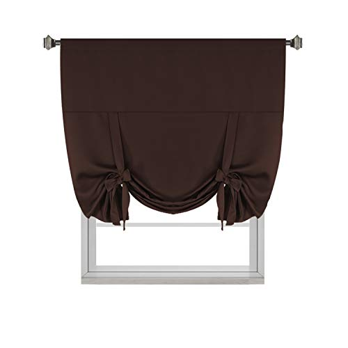 H.VERSAILTEX Blackout Energy Saving Thermal Insulated Tie-up Curtain for Small Window, Chocolate Brown Shade, 42x63-Inch,Rod Pocket Panel for ()