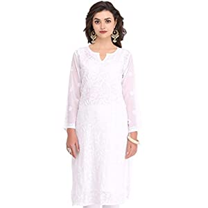 Ada Lucknowi Chikan Hand Embroidered Women's Faux Georgette Kurta with Slip A90397 White