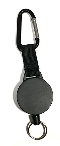 1 ALAZCO Heavy Duty Retractable Key Chain & Badge Reel Holder W/ Carabiner Clip – Swivel-Back Extractable 42 inch Yo-Yo Stainless Cable 8 total length - Great for Swipe ID Cards or USB Flash Drive