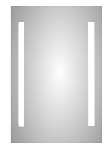 (Meek Mirrors Frameless Backlit LED Lighted Mirror, 2 Strip Design with On/Off Switch)