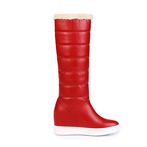 AllhqFashion Mujeres Puntera Redonda Plataforma Caña Alta Tachonado Sin cordones Botas Rojo