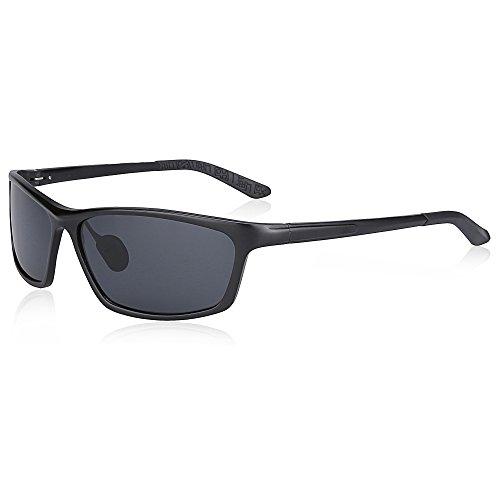 SUNGAIT Classic Polarized Sunglasses Rectangle Metal Frame for Men (Black Frame Gray Lens, 68)2179HKHU by SUNGAIT