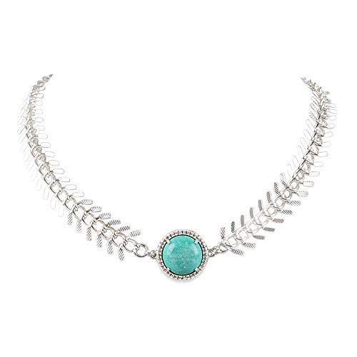 ZENGORI 1Pcs Silver Plated Round Natural Turquoise Charm Necklace for Women Handmade Jewelry