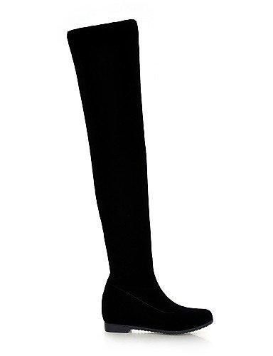 Cn39 Uk6 De Moda Botas A Cuña Tacón Black Xzz Zapatos Cuñas Redonda Vellón us8 Mujer Eu39 Vestido Punta La Casual Negro qgAwRwH