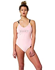 Juicy Couture One Piece Velour Scoop Neck Velour Swimsuit with Rhinestones