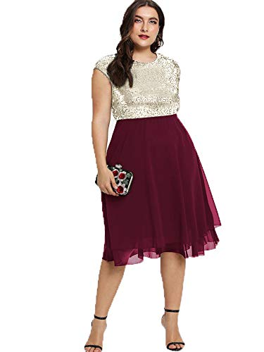 ESPRLIA Womens Plus Size Sequin Short Cap-Sleeve Holiday Party Homecoming Midi Dress (Wine, -
