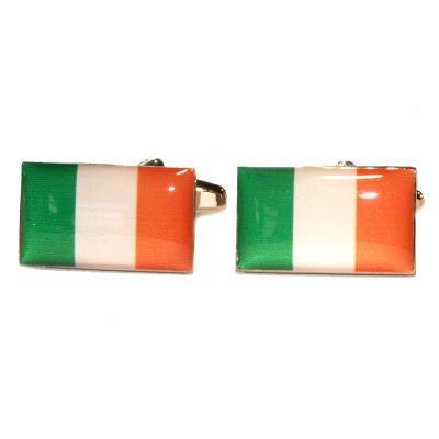 White /& Orange Irish Flag Cufflinks With Gift Pouch Ireland Tricolour Green