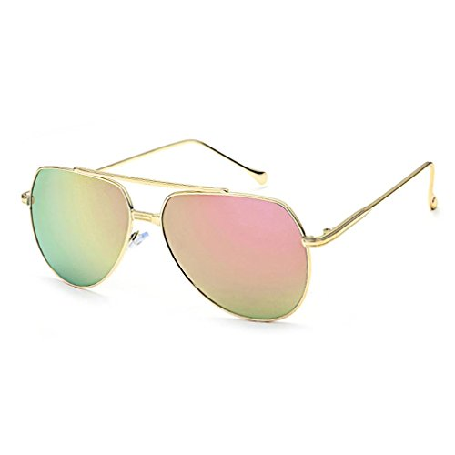 Sunglasses Smdoxi Classic Aviator Mirrored Flat Lens Sunglasses Metal Frame with Spring Hinges - Polarization Of Definition