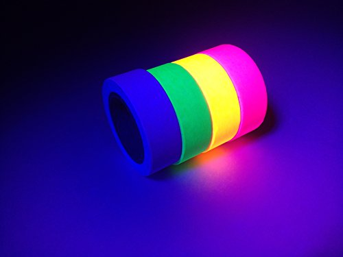 [4-pack] Neon Glow Tape. UV Black Light Fluorescent Tape Includes Pink, Green, Orange, and Purple Colors. Perfect for Parties, Arts & Crafts, and (Pink Reflective Tape)