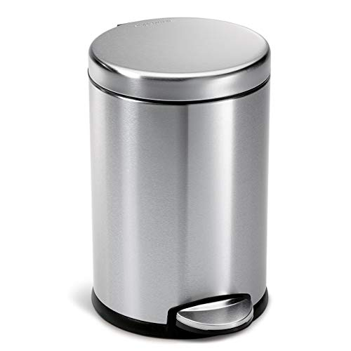 (simplehuman Round Step Trash Can, Fingerprint-Proof, Brushed Stainless Steel, 4.5 L (Renewed))