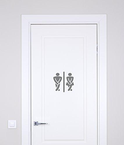 "The Vinyl Design Company Bathroom Crossed Legs Mens and Womens Vinyl Decal Sticker - 7"" W X 7"" H (Silver)"