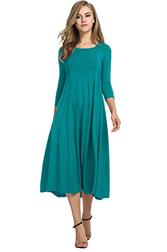 Jade Vintage Green (Hotouch Women Solid Vintage Summer Shift Tunic Dress (Jade Green M))