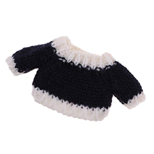 Prettyia New Clothes Sweater for OB11 Mini Blythe Doll Knitted Woven Tops Navy Blue ()