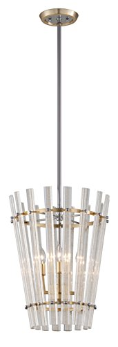 Sauterne 4-Light Pendant - Gold Leaf Finish With Polished Stainless Accents - Handmade Clear Venetian Glass Shade