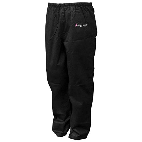Frogg Toggs Pro Action Water-Resistant Rain Pant, Women's, Black, Size Medium