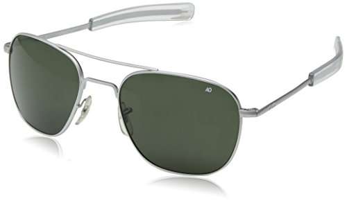 American Optical Pilot Aviator Sunglasses 57 mm Silver Frame with Bayonet Temples and True Color Gray Glass - Aviator Sunglasses Ao