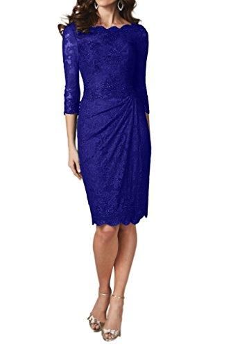 Ivydressing Damen 3 Linie Festkleid Aermel Promkleid 4 Etui Abendkleider KnieKurz Royalblau Spitze BrBqZw