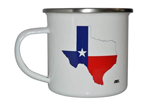 Texas State Cutout Flag Camp Mug Enamel Camping Coffee Cup Gift TX Texan Lone Star State Camping Gear (Enamel Cut Out)