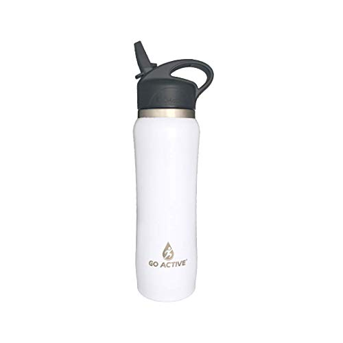 GO Active Insulated Water Bottle with Straw. Stainless Steel Fitness Bottles with Double Walled Vacuum Insulation are Leak Proof, BPA Free Great for Yoga and Keep ice 24 Hours! (16 oz, Pearl)