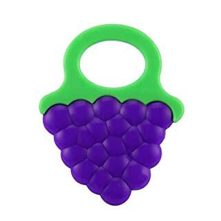 AdaAda Non-Toxic Cartoon Shape Baby Teether Toys Food Grade Silicone Bite Tools Purple & Green