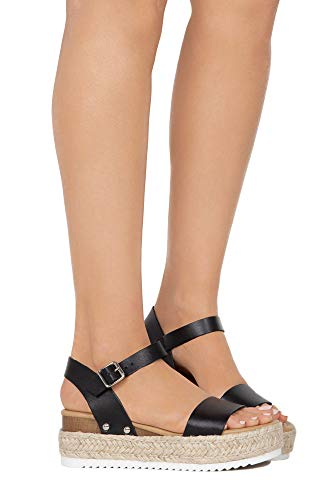 SODA Womens Casual Clip Espadrilles Trim Flatform Studded Wedge Buckle Ankle Strap Sandals,Clip-Blk,9