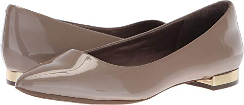 Rockport Women's Total Motion Adelyn Ballet Loafer Flat, Taupe Grey Pearl Patent, 9.5 M US -