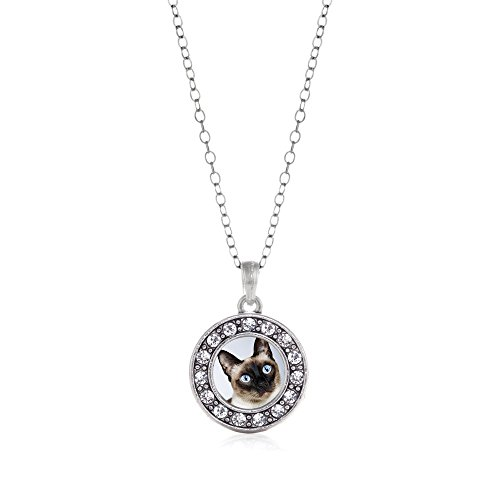 (Inspired Silver Siamese Cat Circle Charm Necklace Clear Crystal Rhinestones)