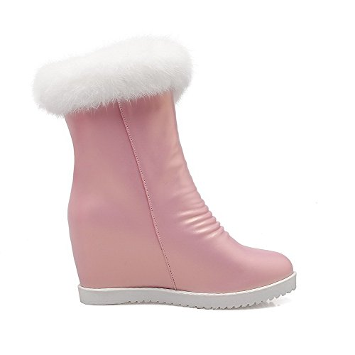 Allhqfashion Women's High-Heels Soft Material Low-top Solid Zipper Boots Pink OWtTErnYb