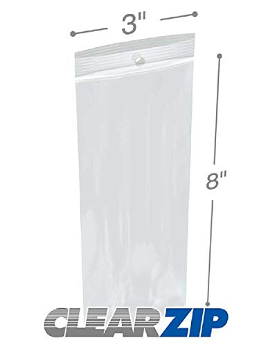 APQ Pack of 1000 Zip Lock Bags With Hang Hole 3 x 8. Clear Polyethylene Bags 3x8. FDA, USDA Approved, 2 mil thick. Hang Hole Plastic Poly Bags for Industrial, Food Service and Healthcare Applications. from APQ Supply