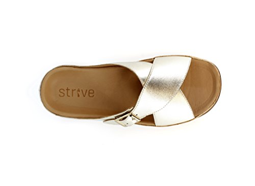 Crossover Stylish Strive Sandal Pale Soft Maria Footwear Buckle Leather Orthotic Gold YqP0TY