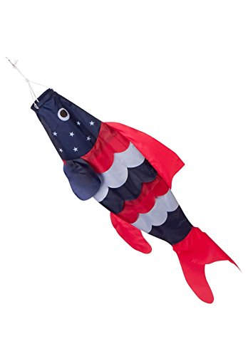 Multi Fish Hanging - 40-inch Patriotic Fish Windsock (3.3 feet) -- Stars and Stripes -- Red, White, Blue -- Includes hanging clip.