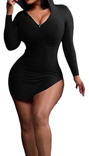 Les Femmes Alion Chemisiers Capuche Moulante Casual Manches Longues Sexy Mini-robe Noire