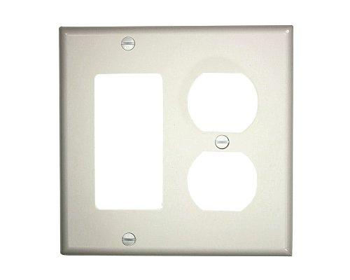 (Leviton 80746-W 2-Gang 1-Duplex 1-Decora/GFCI Device Combination Wallplate, Standard Size, Thermoplastic Nylon, White)