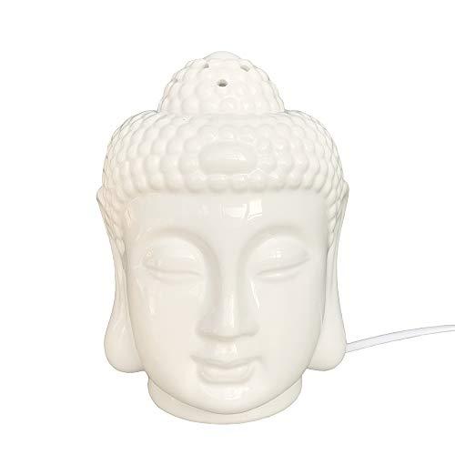 Moylor Porcelain Zen Buddha Head Status Electronic Essential Oil Warmer Scented Candle Tart Burner Night Lamp for Aromatherapy Spa Sleep ()