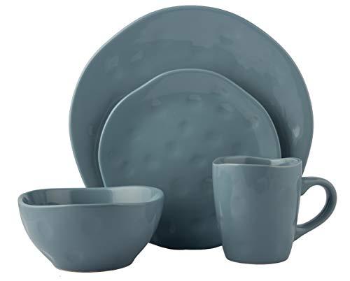 Melange Stoneware 32-Piece Dinnerware Set | Irregular Shape Collection | Service for 8 | Microwave, Dishwasher & Oven Safe | Dinner Plate, Salad Plate & Soup Bowl & Mug, Aqua (8 Each)