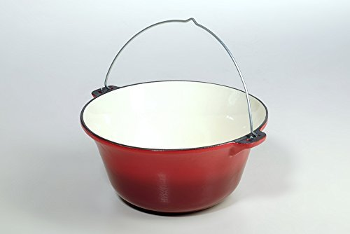 10,8 Liter Gulaschkessel Gußeisen rot/weiß emailliert - massiver Gulaschkessel 7,5 kg