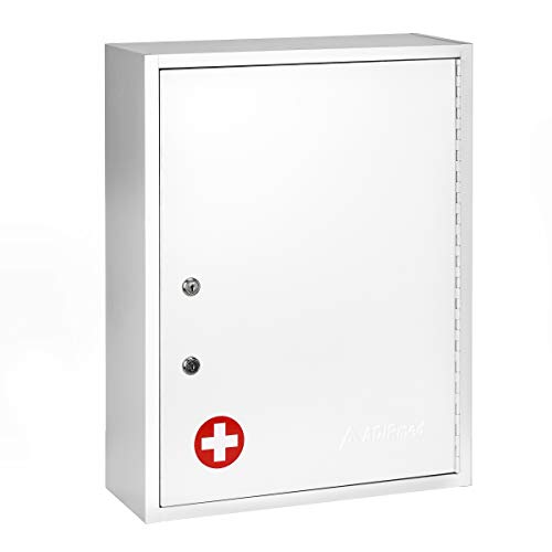 AdirMed Large Dual-Lock Medicine Cabinet - Wall Mounted & Secure Steel Medicine Pills & First Aid Kit & Emeergency Kit Box with Locks for Home Office & School Use (White)