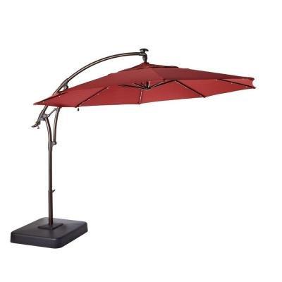 Hampton Bay 11 ft. Offset LED Patio Umbrella in Tan (132x111x132, Red)