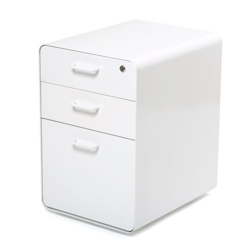 Poppin White Stow 3-Drawer File Cabinet, Available in 10 Colors, Legal/Letter - All Steel File Cabinet