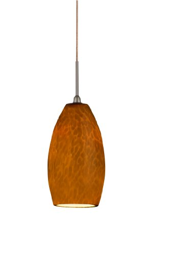 Lighting by AFX BEPLAMRB Bella LED Pendant, Oil-Rubbed Bronze with Amber Hand-Blown - Mini Pendant Fluorescent Amber