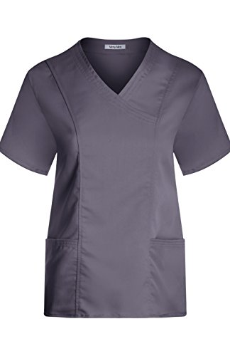 minty-mint-womens-medical-scrub-short-sleeve-v-neck-princess-seam-top-steel-gray-xl