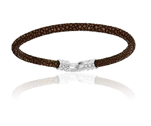 - Double Bone Single Stingray Bracelet. Genuine Leather Bangle with Silver Clasp for Men and Women (Brown, 17)