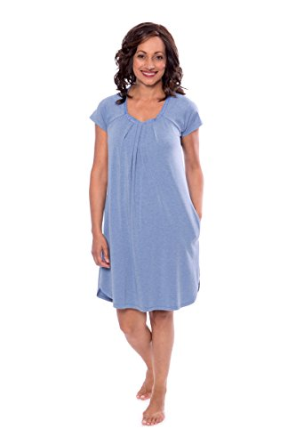 Women's Cap Sleeve Nightgown - Bamboo Viscose Sleepwear by Texere (Slumberous, Heather Ice Blue, Large) Relaxed Fit Lightweight Valentines Gift Ideas TX-WB040-005-21U1-R-L -