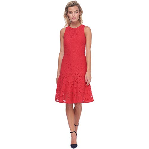 ABS COLLECTION Womens Lace Flare Hem Cocktail Dress Red 8